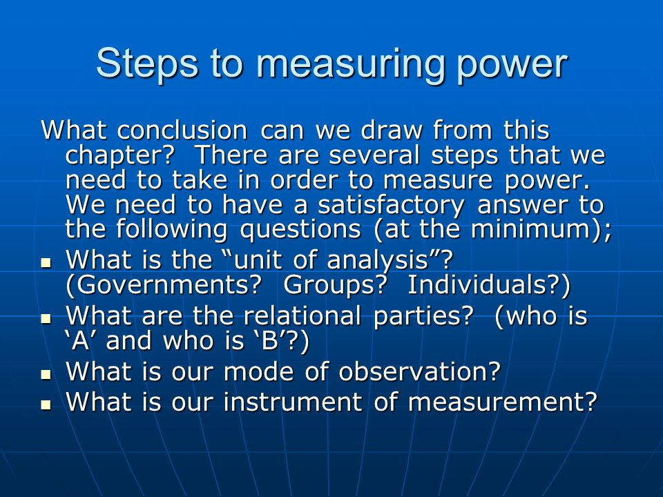 Steps to measuring power