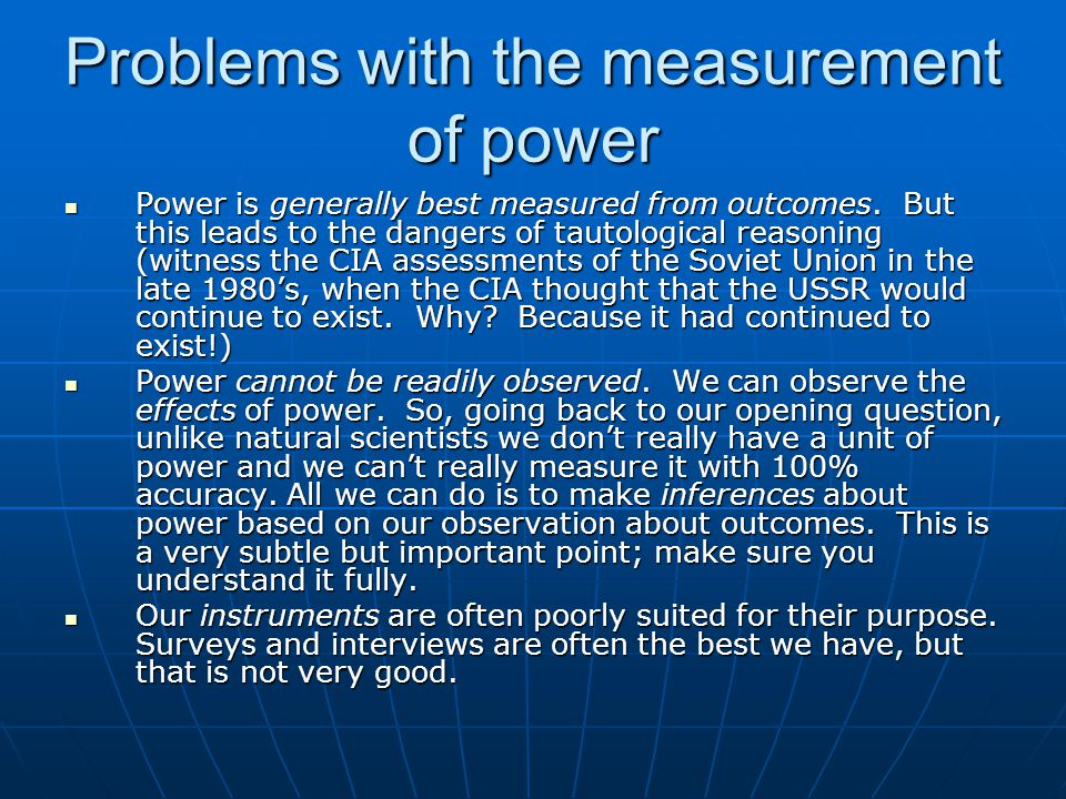 Problems with the measurement of power