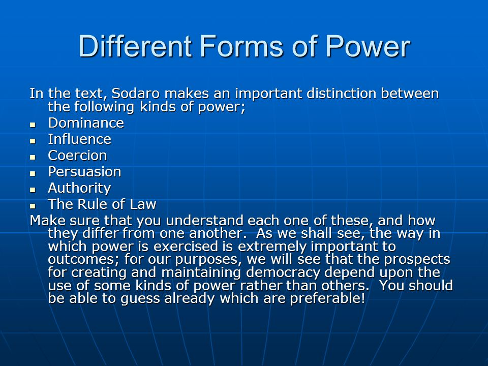 Different Forms of Power