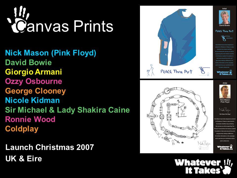 Canvas Prints Nick Mason (Pink Floyd) David Bowie Giorgio Armani
