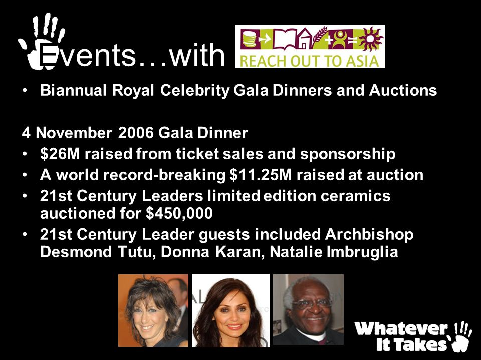 Events…with Biannual Royal Celebrity Gala Dinners and Auctions