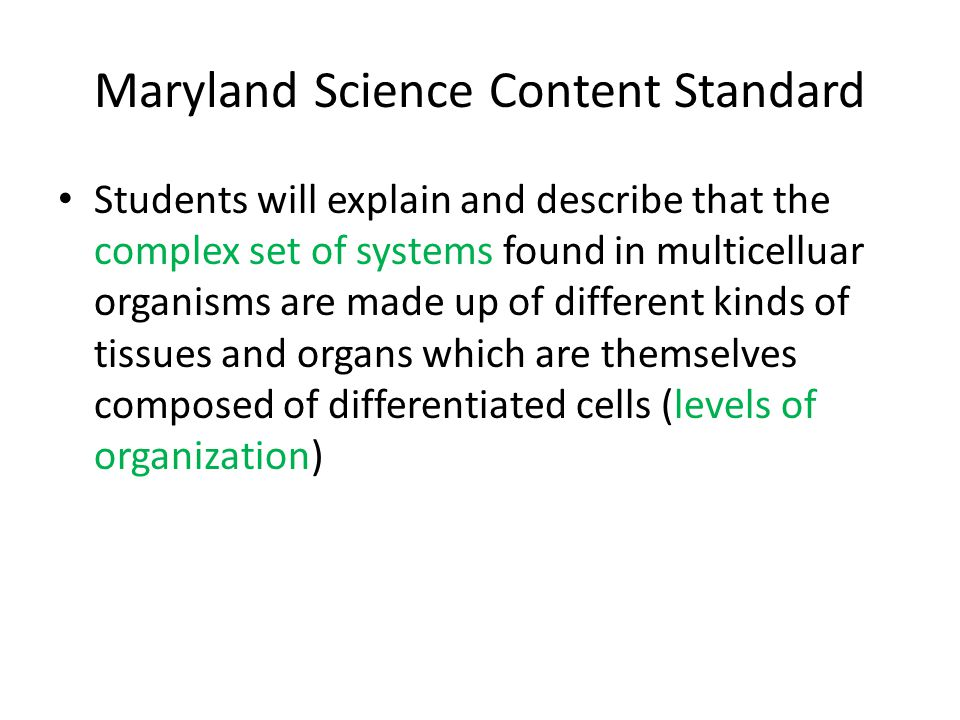 Maryland Science Content Standard