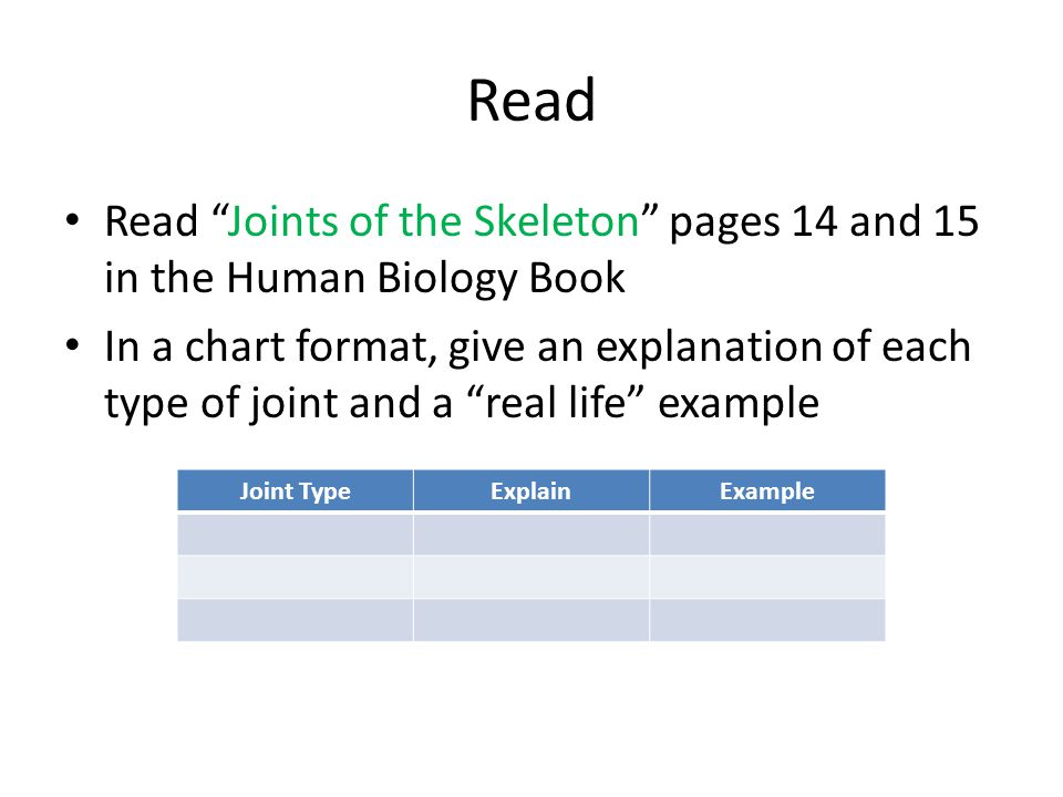 Read Read Joints of the Skeleton pages 14 and 15 in the Human Biology Book.