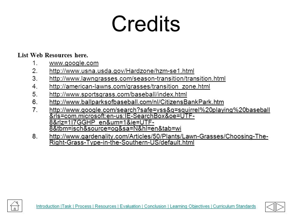 Credits List Web Resources here.