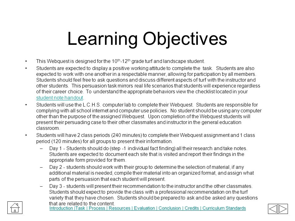 Learning Objectives This Webquest is designed for the 10th-12th grade turf and landscape student.