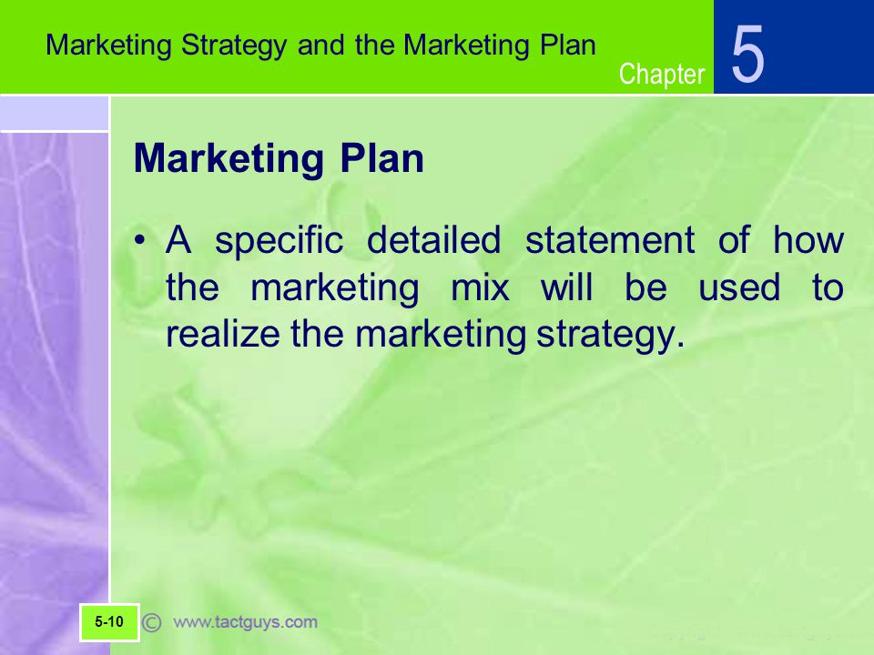 5 Marketing Strategy and the Marketing Plan. Marketing Plan.
