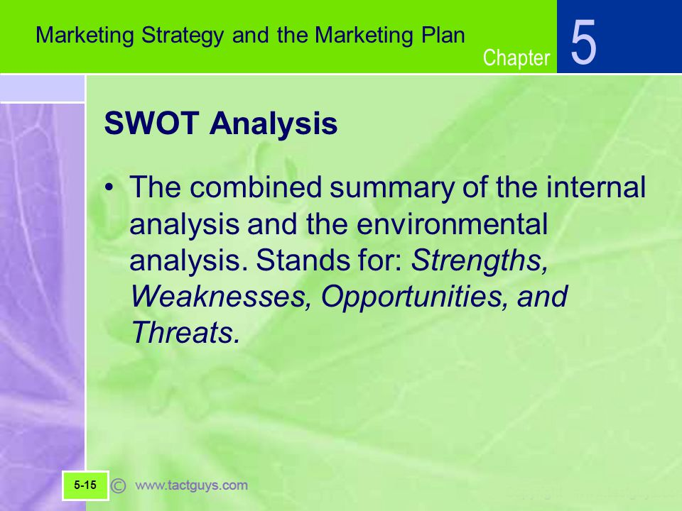 5 Marketing Strategy and the Marketing Plan. SWOT Analysis.