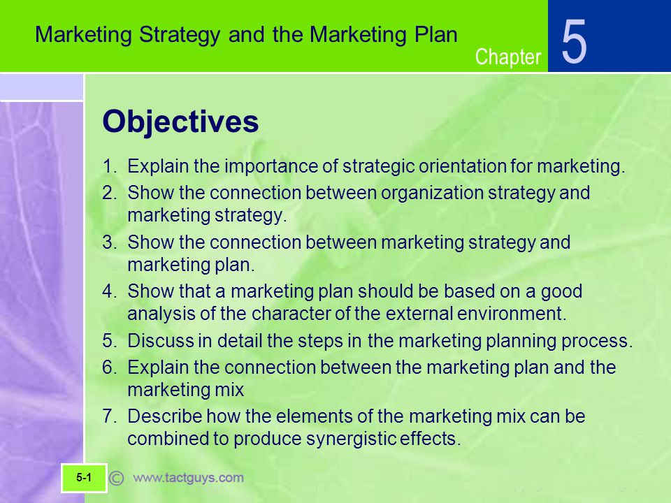 5 Objectives Marketing Strategy and the Marketing Plan