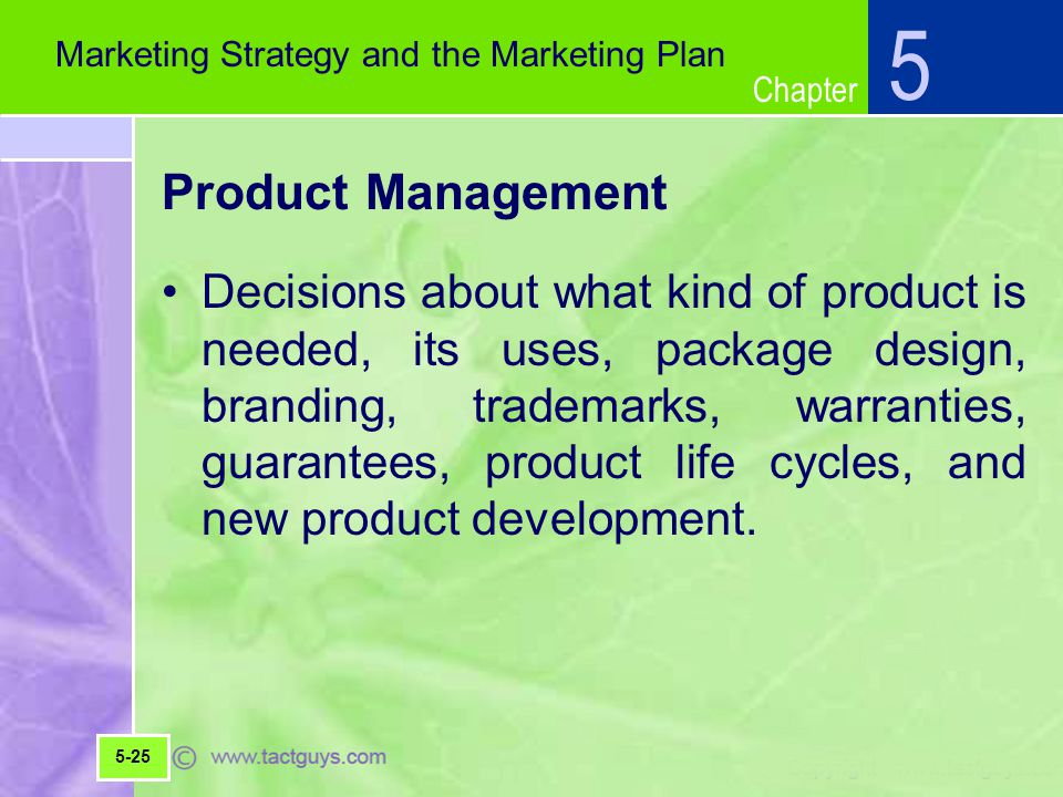 5 Marketing Strategy and the Marketing Plan. Product Management.