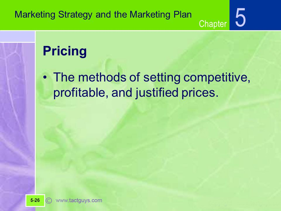 5 Marketing Strategy and the Marketing Plan. Pricing. The methods of setting competitive, profitable, and justified prices.