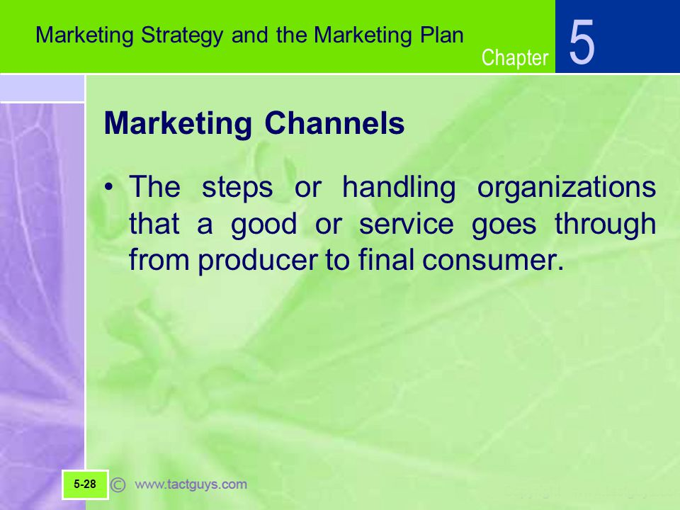 5 Marketing Strategy and the Marketing Plan. Marketing Channels.