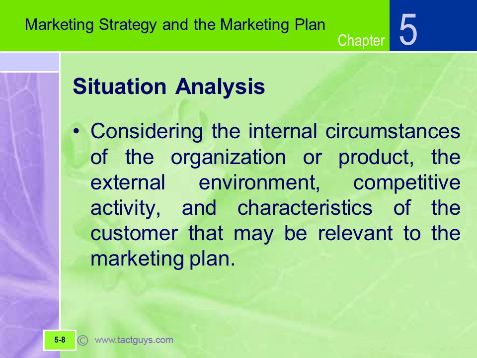 5 Marketing Strategy and the Marketing Plan. Situation Analysis.