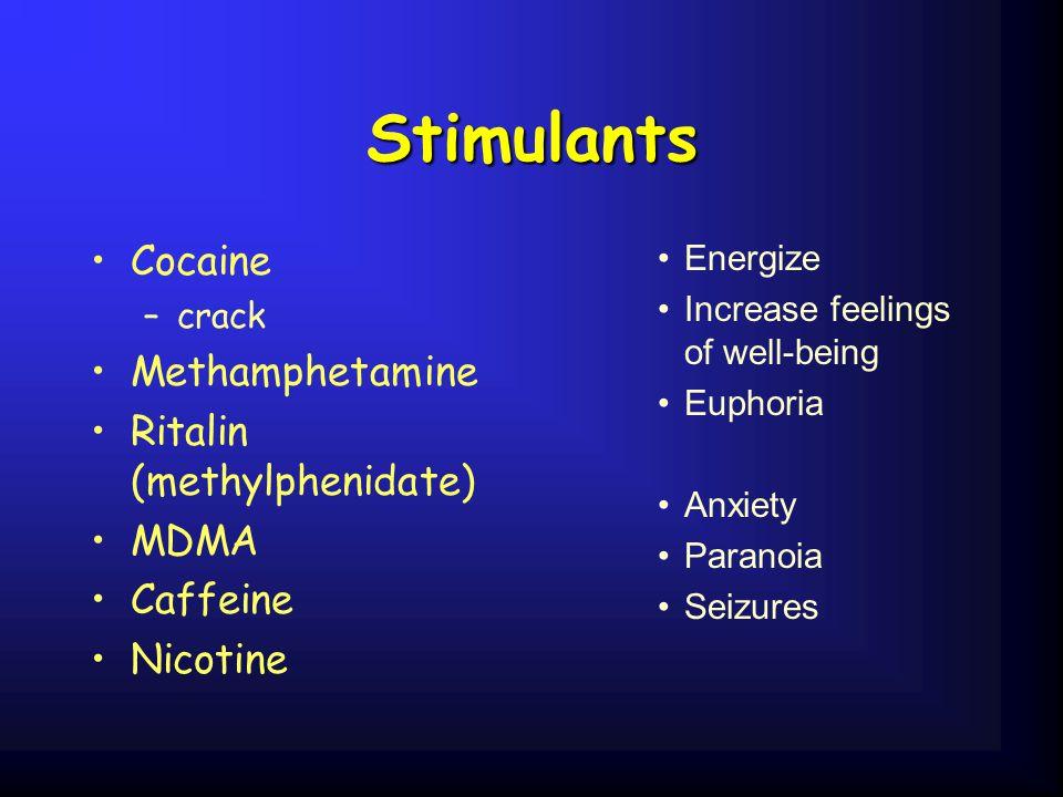 Stimulants Cocaine Methamphetamine Ritalin (methylphenidate) MDMA