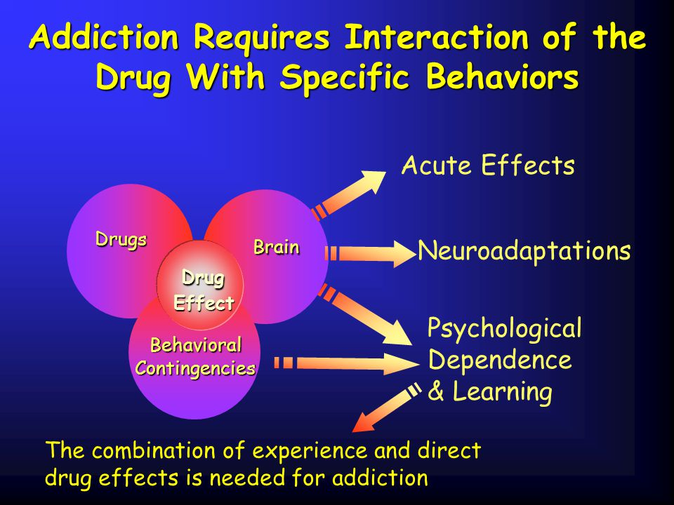 Addiction Requires Interaction of the Drug With Specific Behaviors