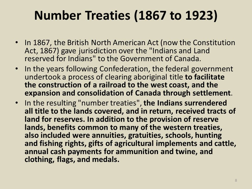 Number Treaties (1867 to 1923)