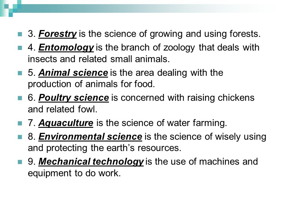 3. Forestry is the science of growing and using forests.