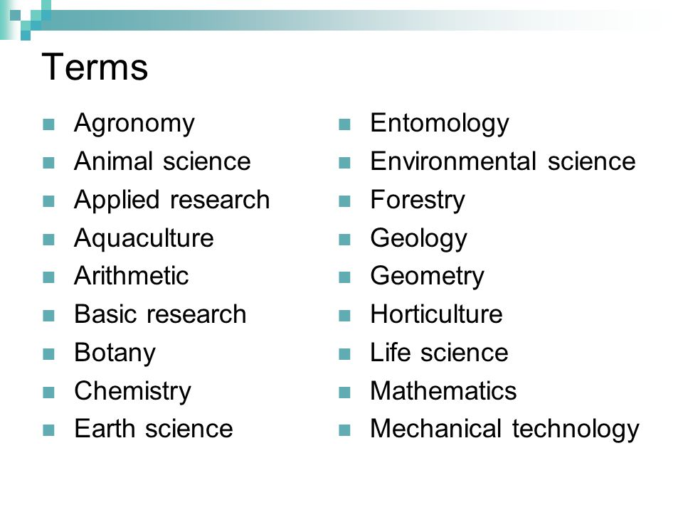 Terms Agronomy Animal science Applied research Aquaculture Arithmetic