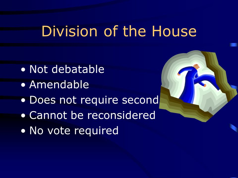 Division of the House Not debatable Amendable Does not require second