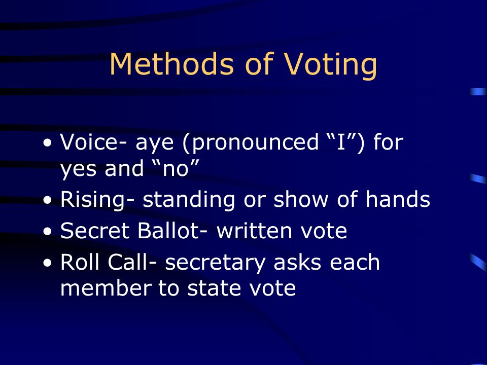 Methods of Voting Voice- aye (pronounced I ) for yes and no