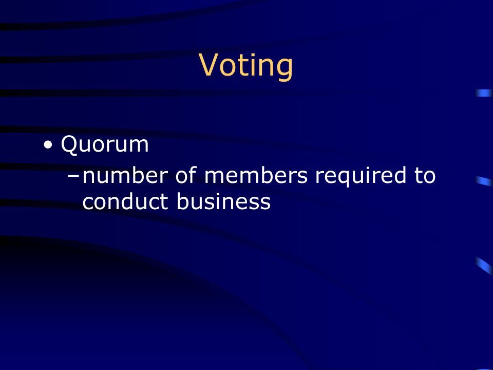 Voting Quorum number of members required to conduct business
