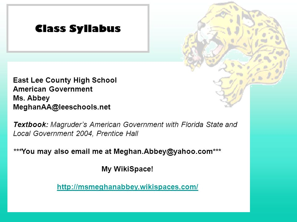 Class Syllabus East Lee County High School American Government