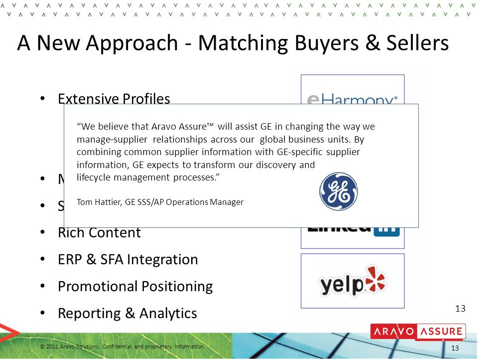A New Approach - Matching Buyers & Sellers
