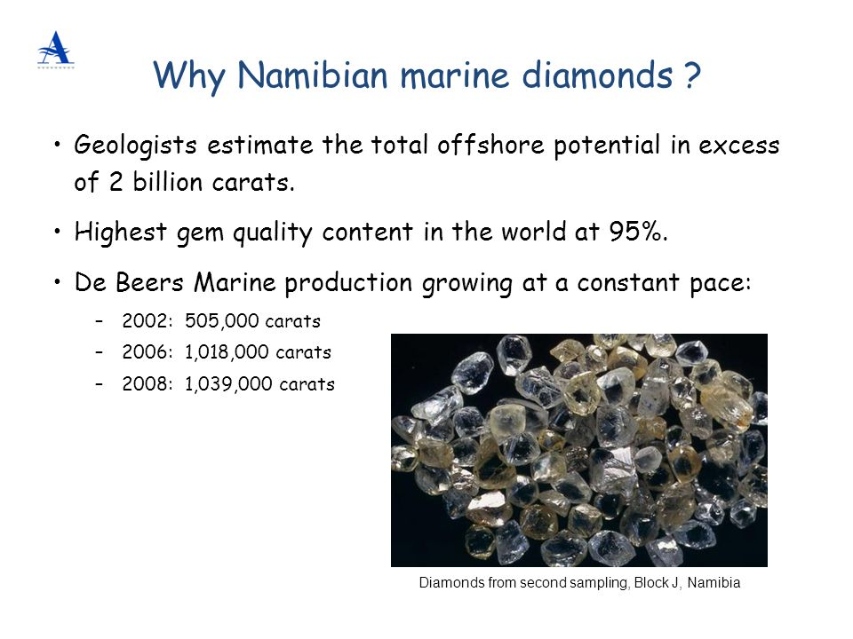 Diamonds from second sampling, Block J, Namibia