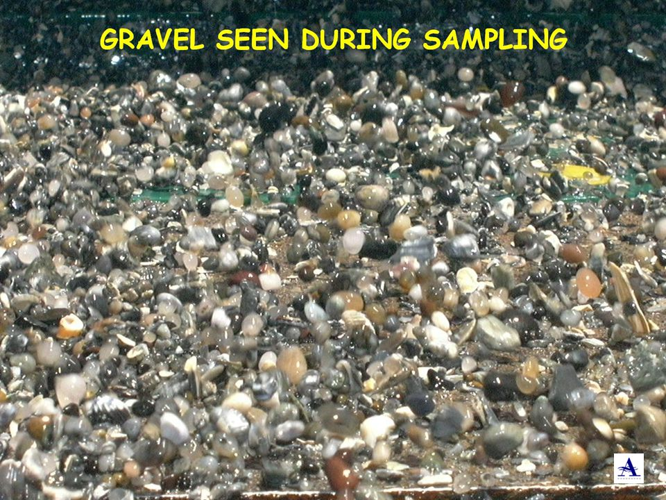 This is what the gravel in the previous slide looks like on the sampling screen.