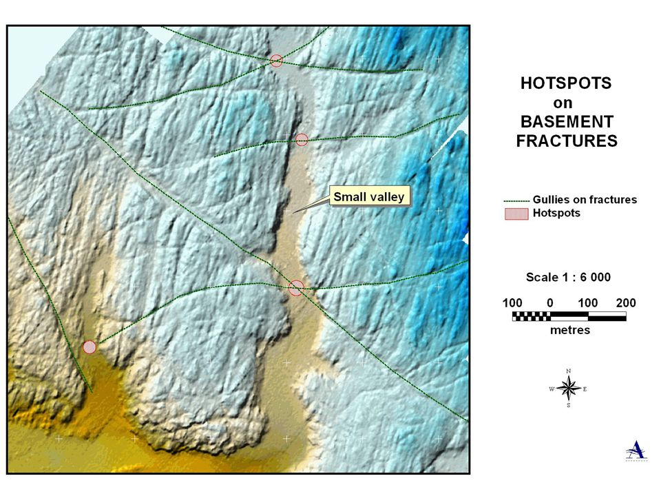 Overdeepening of valley floor where it intersects fracture gullies, resulting in greater chance of diamond concentration.