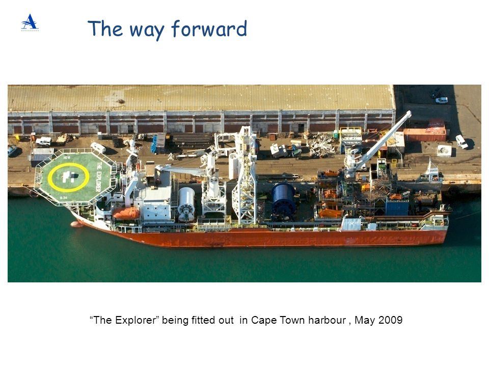The Explorer being fitted out in Cape Town harbour , May 2009