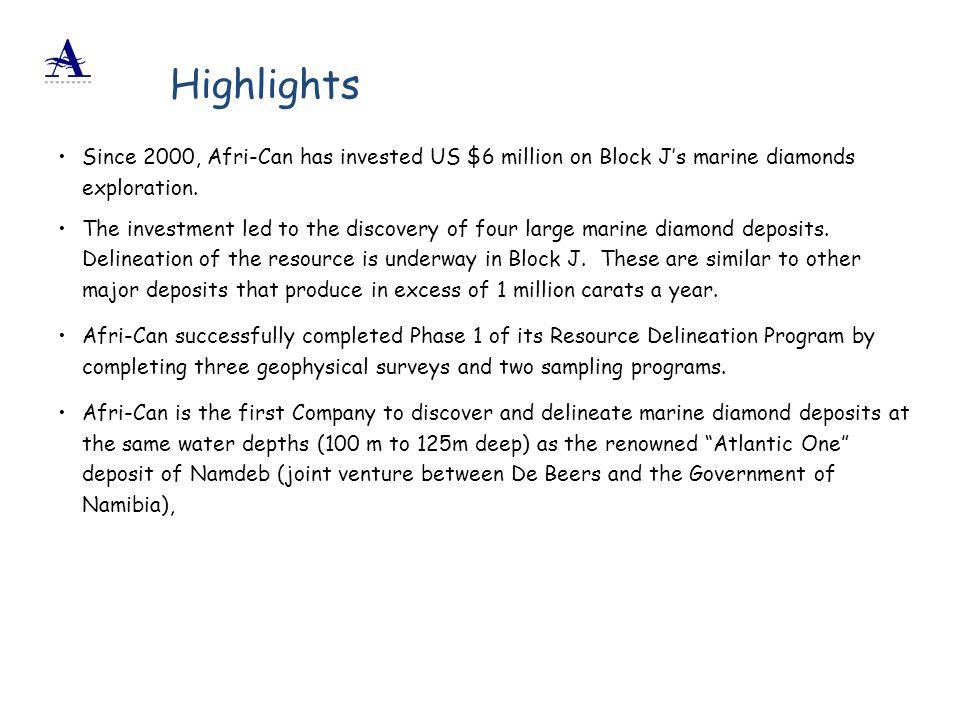 Highlights Since 2000, Afri-Can has invested US $6 million on Block J's marine diamonds exploration.