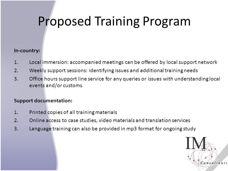 Proposed Training Program