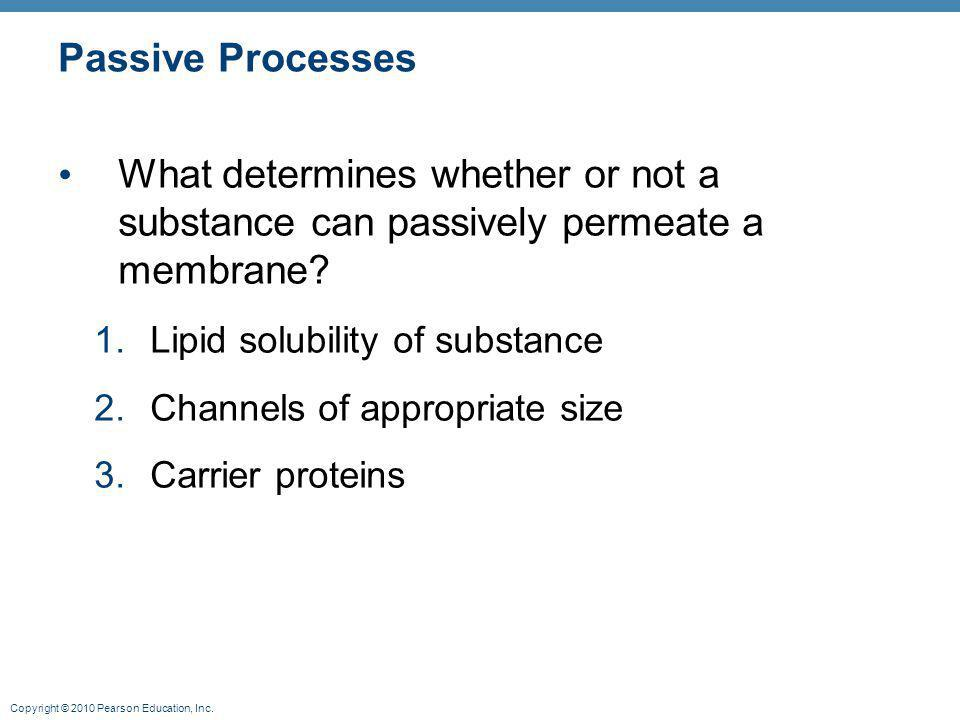 Passive Processes What determines whether or not a substance can passively permeate a membrane Lipid solubility of substance.