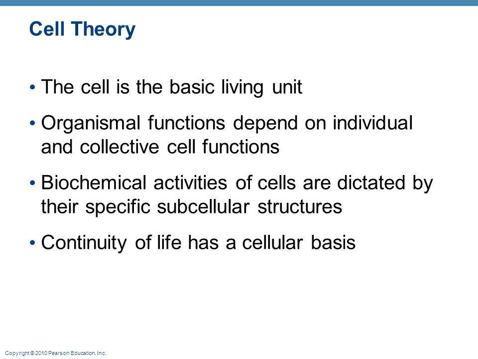 Cell Theory The cell is the basic living unit. Organismal functions depend on individual and collective cell functions.