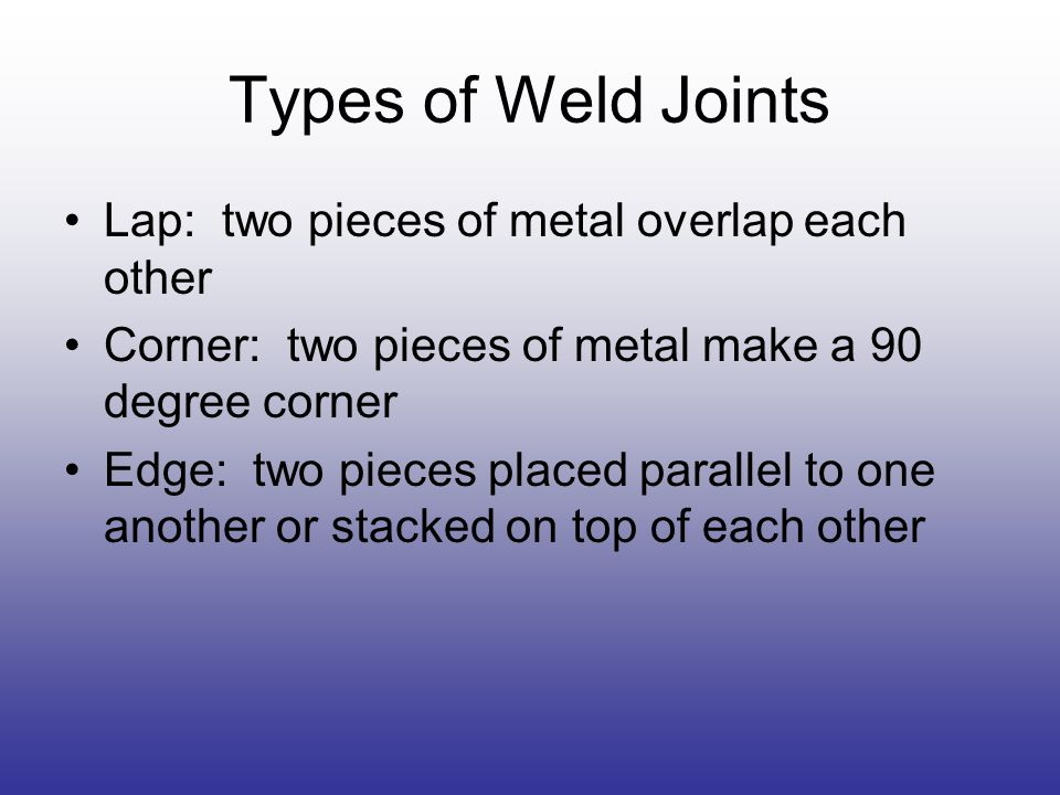 Types of Weld Joints Lap: two pieces of metal overlap each other