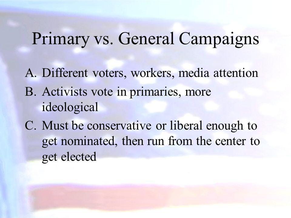 Primary vs. General Campaigns
