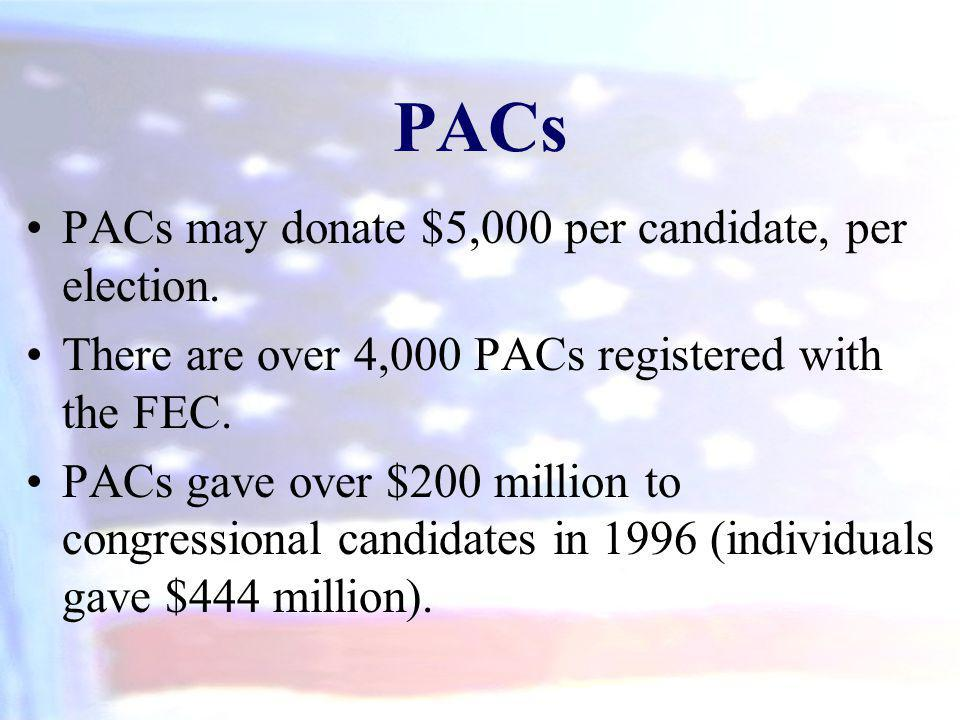 PACs PACs may donate $5,000 per candidate, per election.