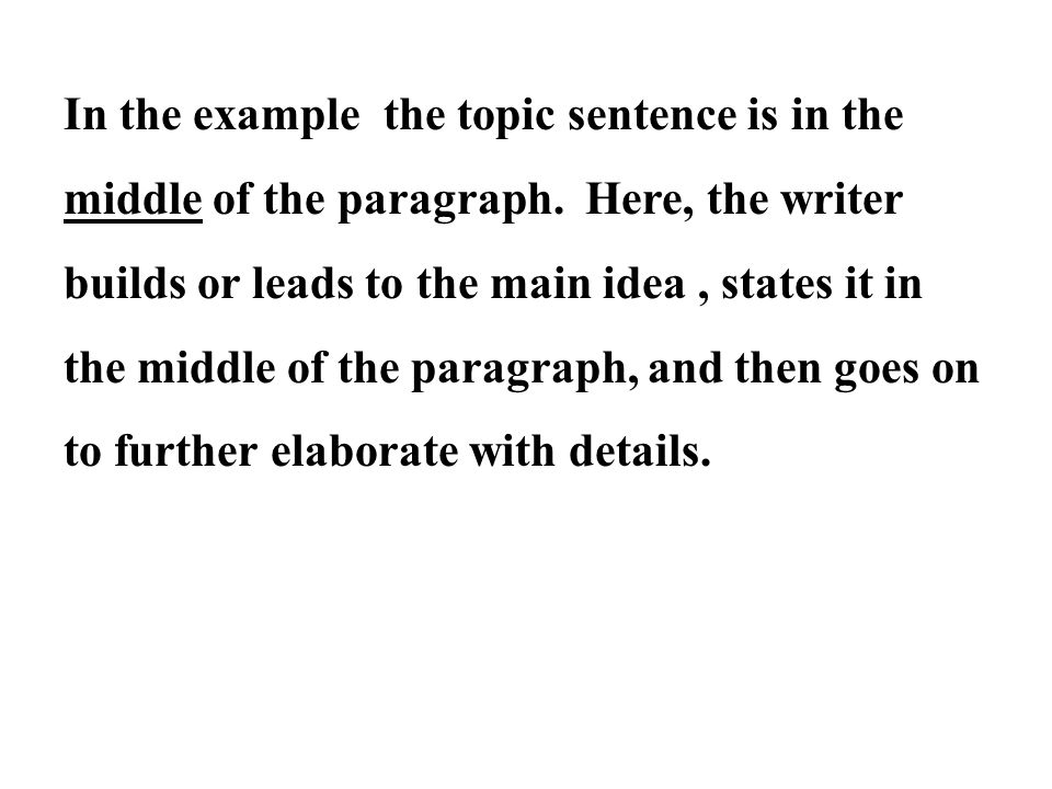 In the example the topic sentence is in the