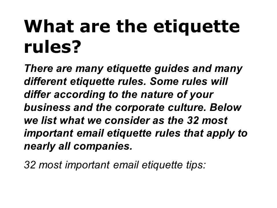 What are the etiquette rules