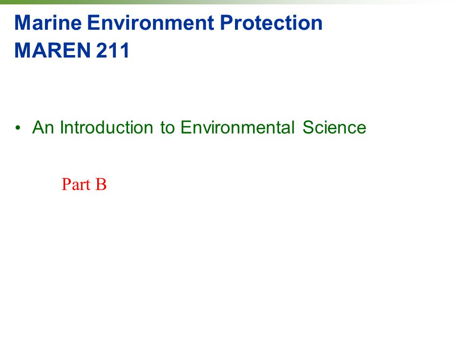 Marine Environment Protection MAREN 211