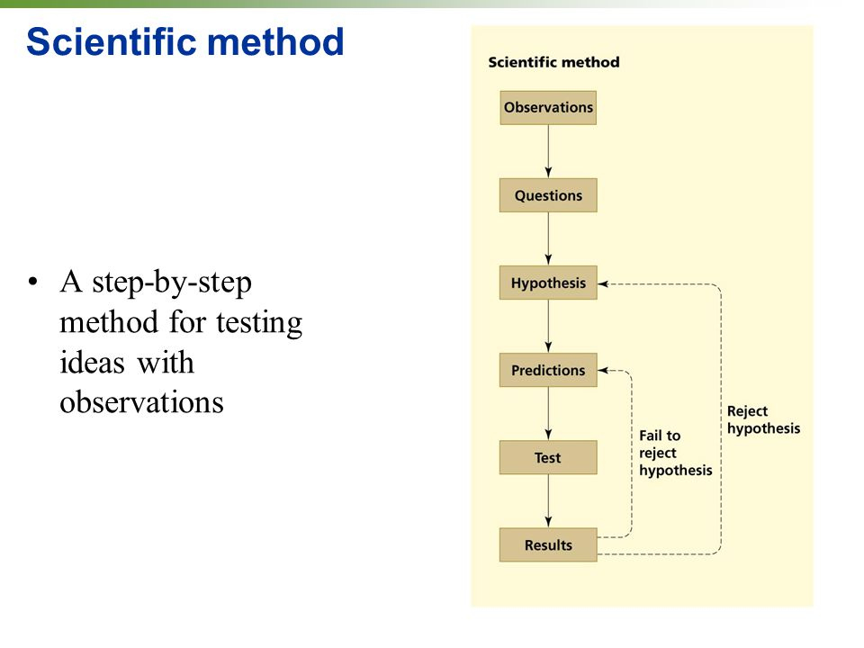Scientific method A step-by-step method for testing ideas with observations