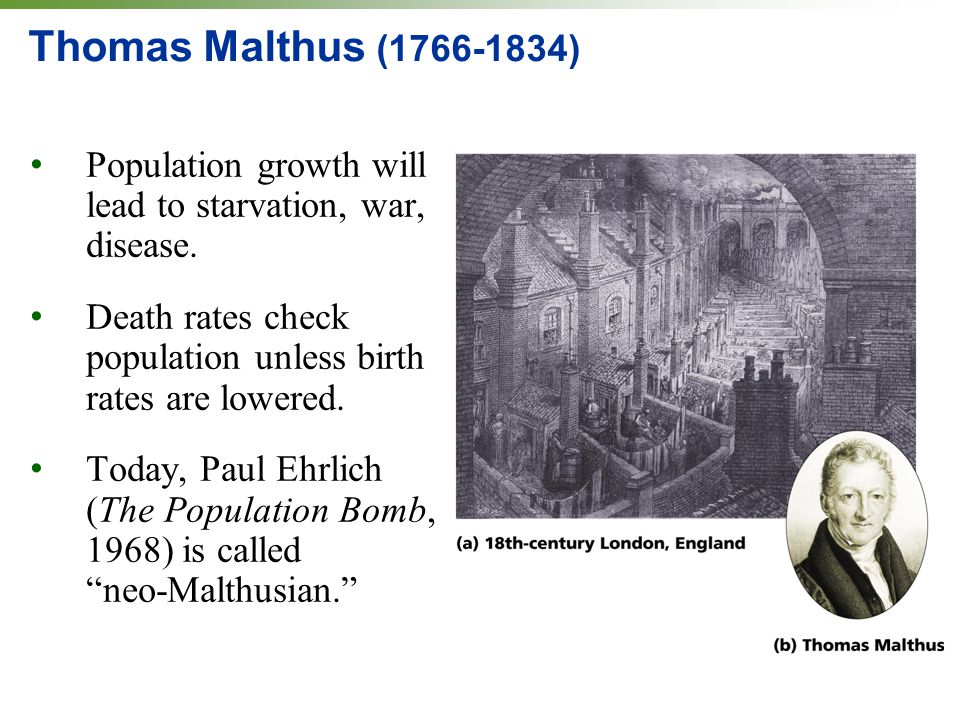 Thomas Malthus (1766-1834) Population growth will lead to starvation, war, disease. Death rates check population unless birth rates are lowered.
