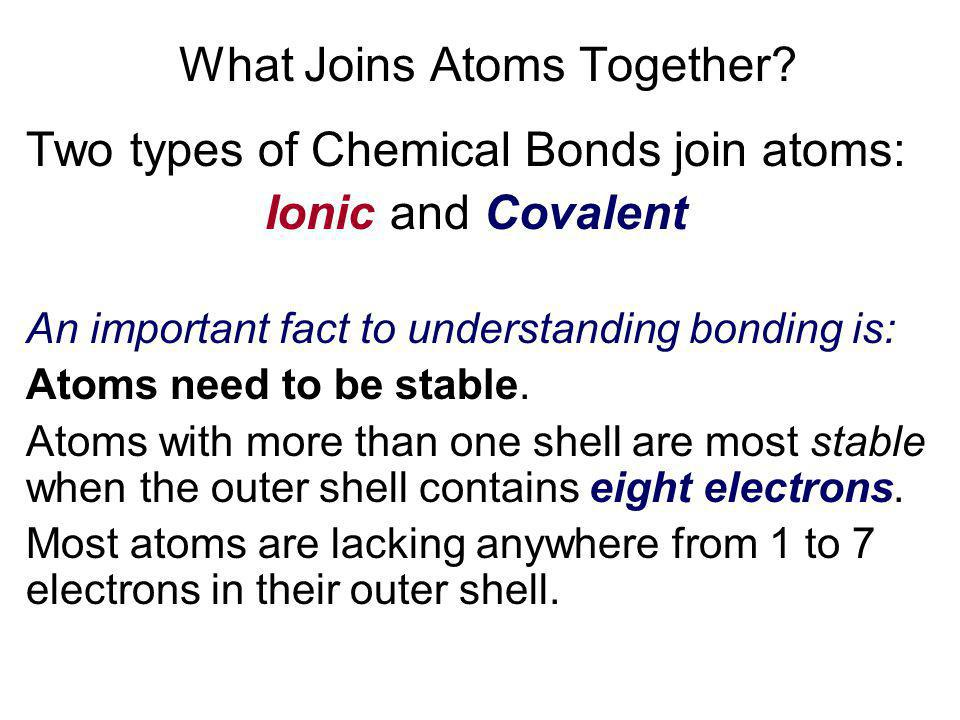 What Joins Atoms Together
