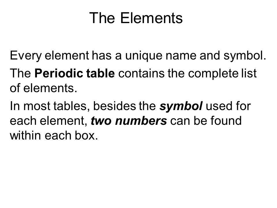 The Elements Every element has a unique name and symbol.