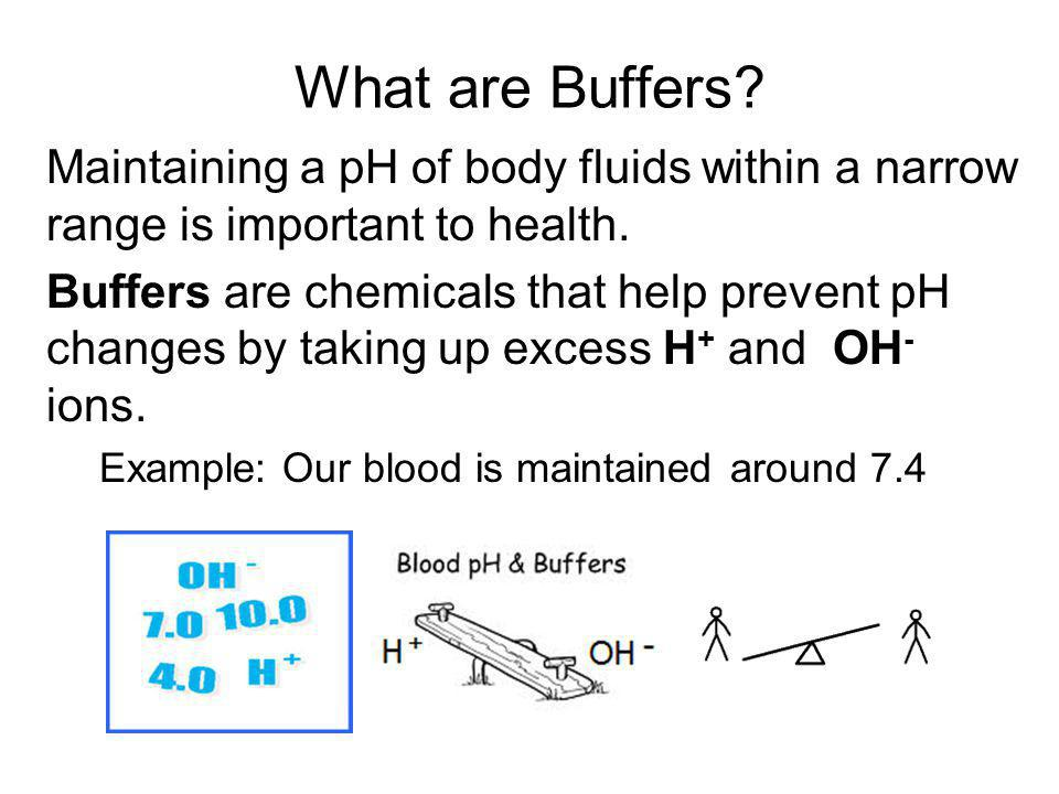 What are Buffers Maintaining a pH of body fluids within a narrow range is important to health.