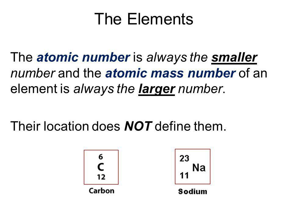 The Elements The atomic number is always the smaller number and the atomic mass number of an element is always the larger number.