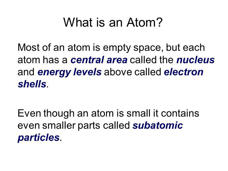 What is an Atom Most of an atom is empty space, but each atom has a central area called the nucleus and energy levels above called electron shells.