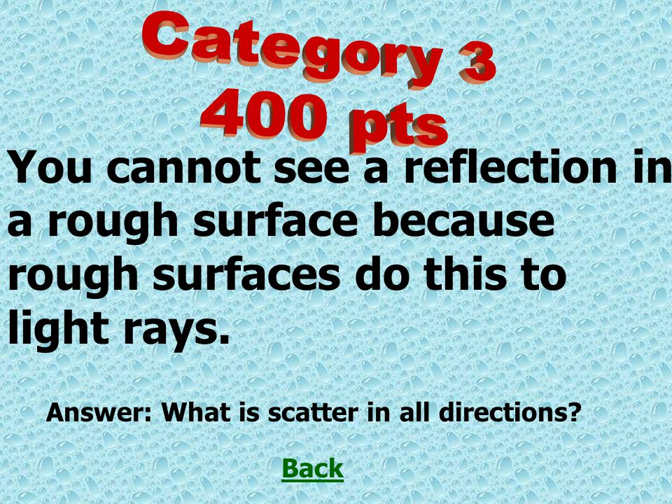 You cannot see a reflection in a rough surface because