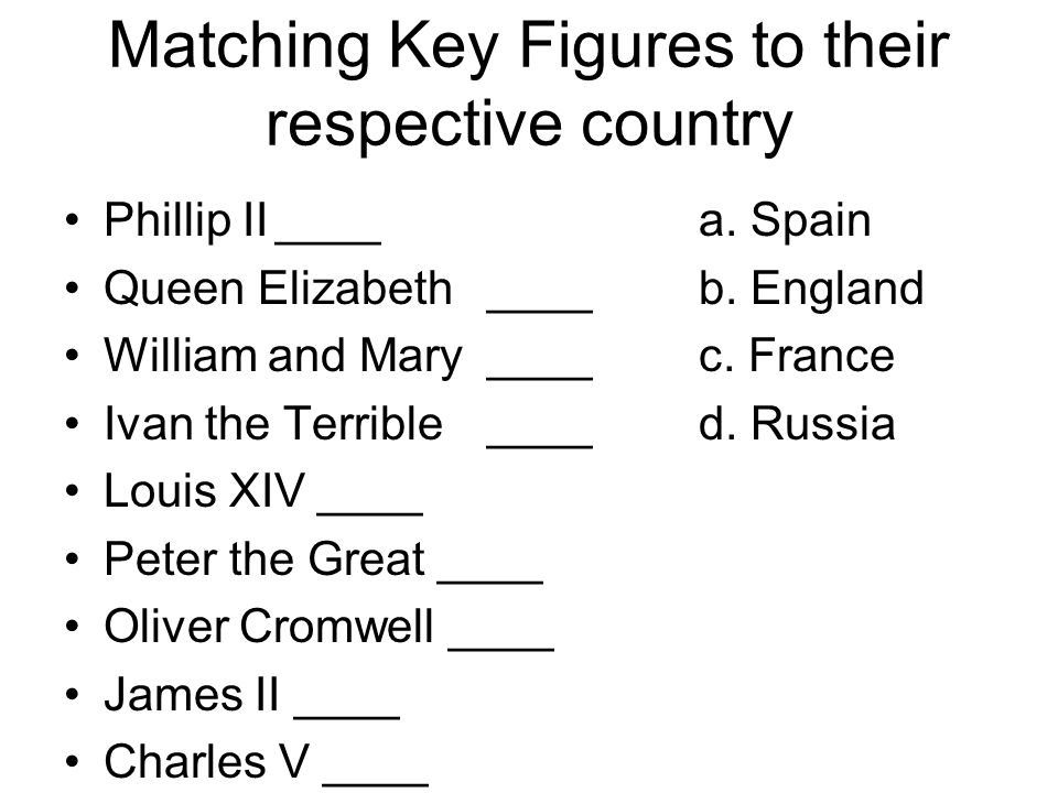 Matching Key Figures to their respective country