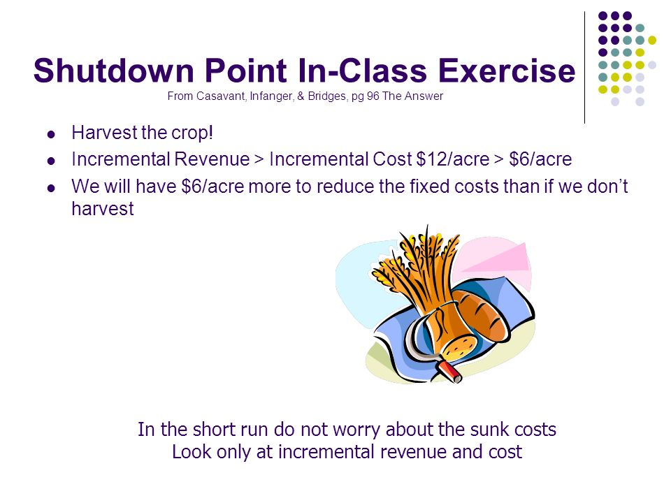 Shutdown Point In-Class Exercise From Casavant, Infanger, & Bridges, pg 96 The Answer